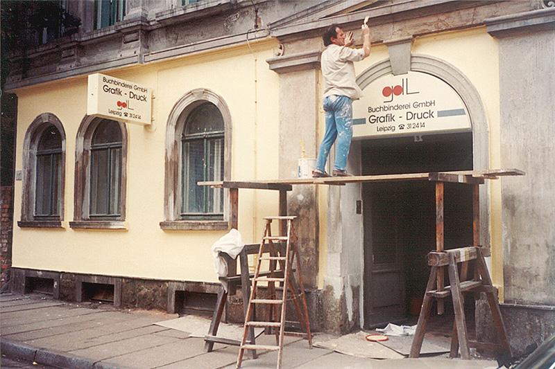 Gründung der Buchbinderei GmbH Grafik-Druck-Leipzig aus der ehemaligen Produktionsgenossenschaft (PGH Grafik-Druck) durch Familie Müller und weiteren 13 Mitarbeitern